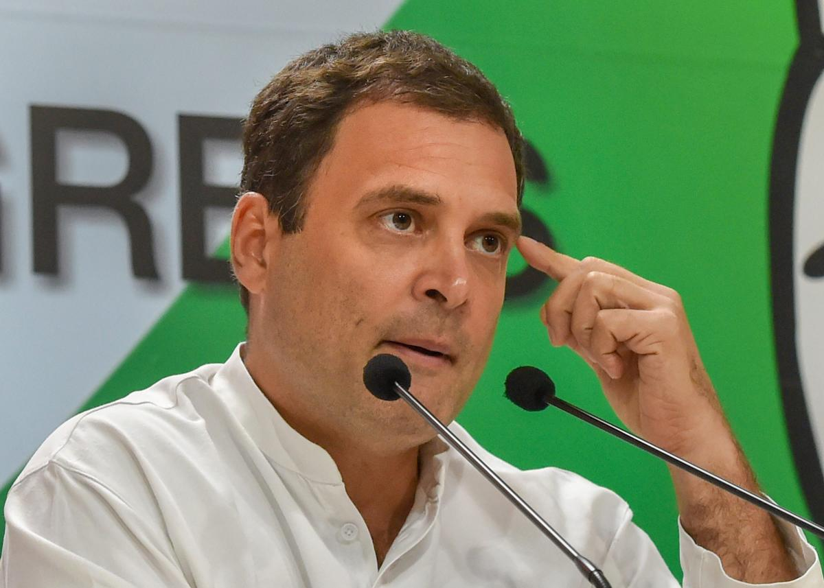 Congress president Rahul Gandhi addresses the media on Rafale deal issue in New Delhi on Saturday. PTI