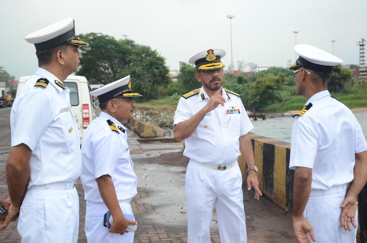 Inspector General V D Chafekar, Commander, Coast Guard Region (West) interacts with Coast Guard personnel in Mangaluru.