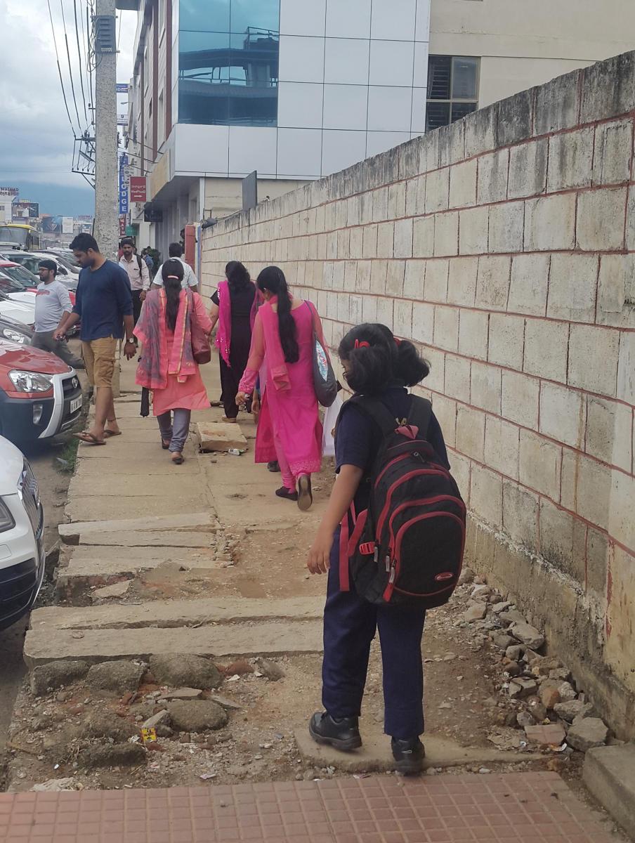 A broken footpath on IG Road in Chikkamagaluru town.