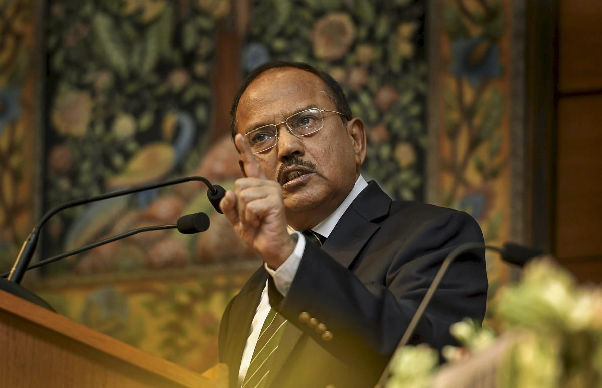 National Security Advisor Ajit Doval gestures during his speech at Sardar Patel Memorial Lecture 2018, in New Delhi, on Thursday. PTI