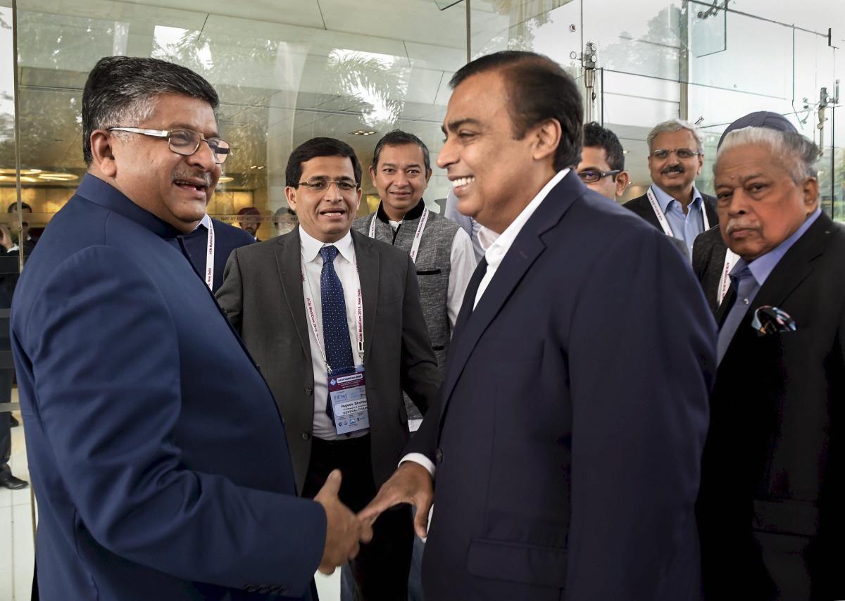 Union Minister for Electronics and Information Technology Ravi Shankar Prasad with Reliance Industries Limited Chairman Mukesh Ambani at 24th Annual International Conference on Mobile Computing and Networking (ACM Mobicom) 2018, in New Delhi, Tuesday, Oct