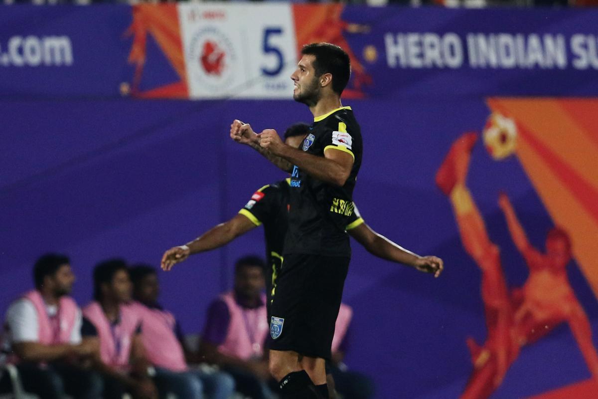 Nikola Krcmarevic of Kerala Blasters FC celebrates a goal against FC Pune City. ISL Media