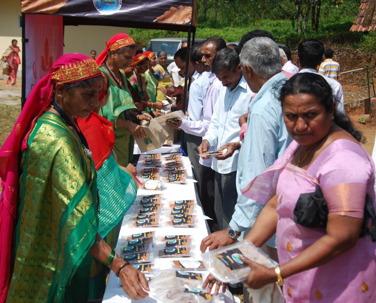 Women flood victims sell masala products under the name 'Coorg flavours' in Madikeri on Sunday.