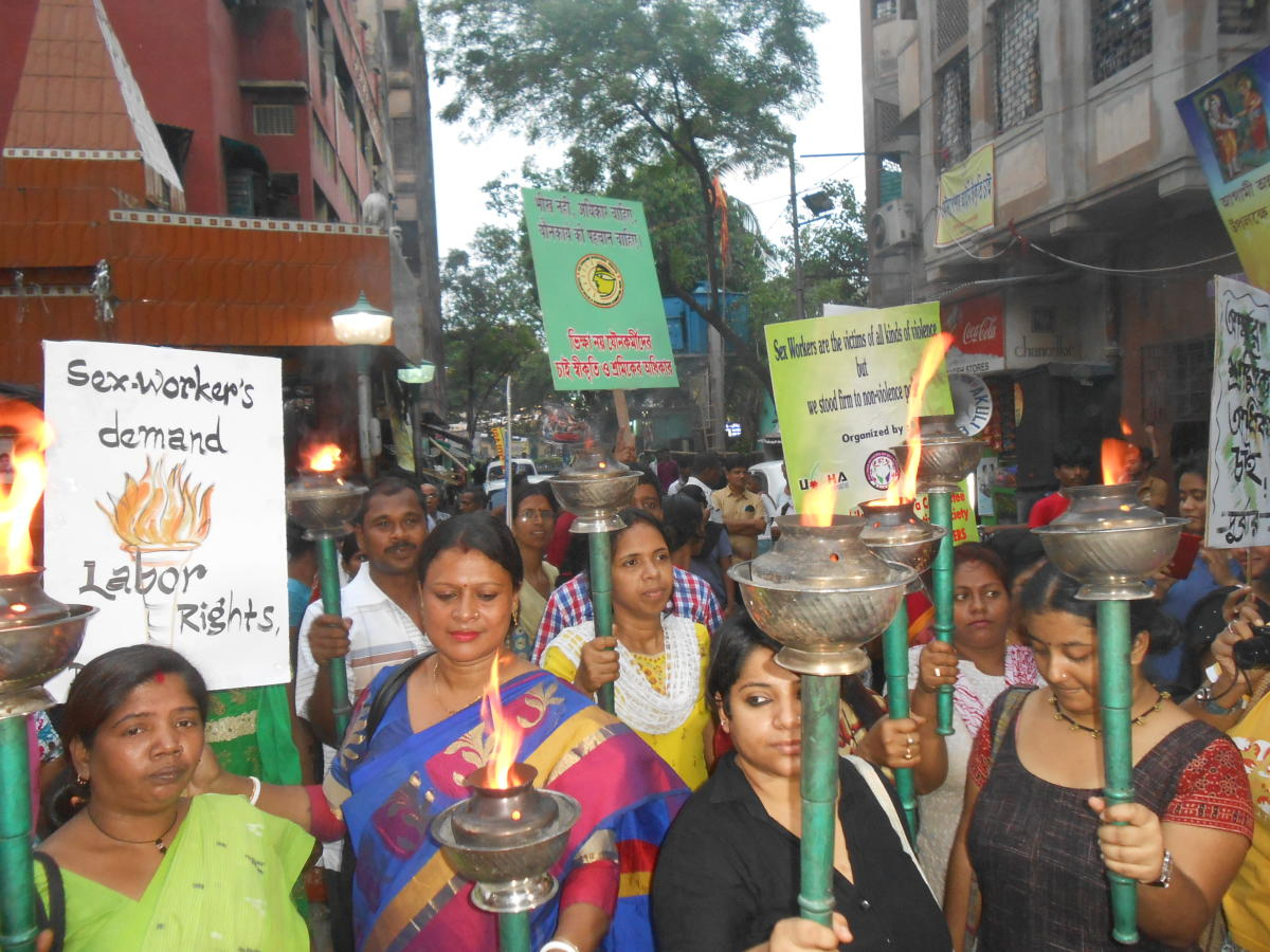Sex workers of Sonagachi take part in an agitation in Kolkata.