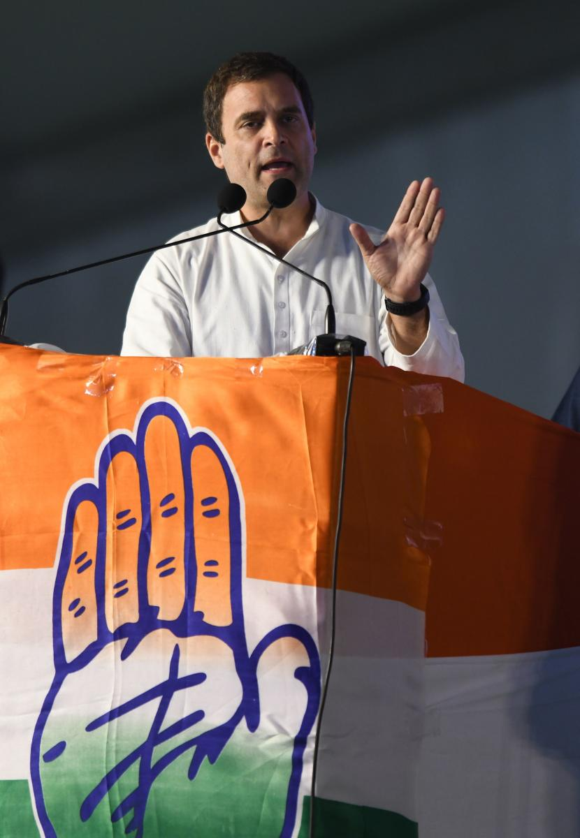 All India Congress Committee (AICC) President Rahul Gandhi addresses a public meeting for the campaign of the 2018 Telangana state Assembly elections at Medchal constituency some 30 kms from Hyderabad, on November 23, 2018. - The Telangana Legislative Ass