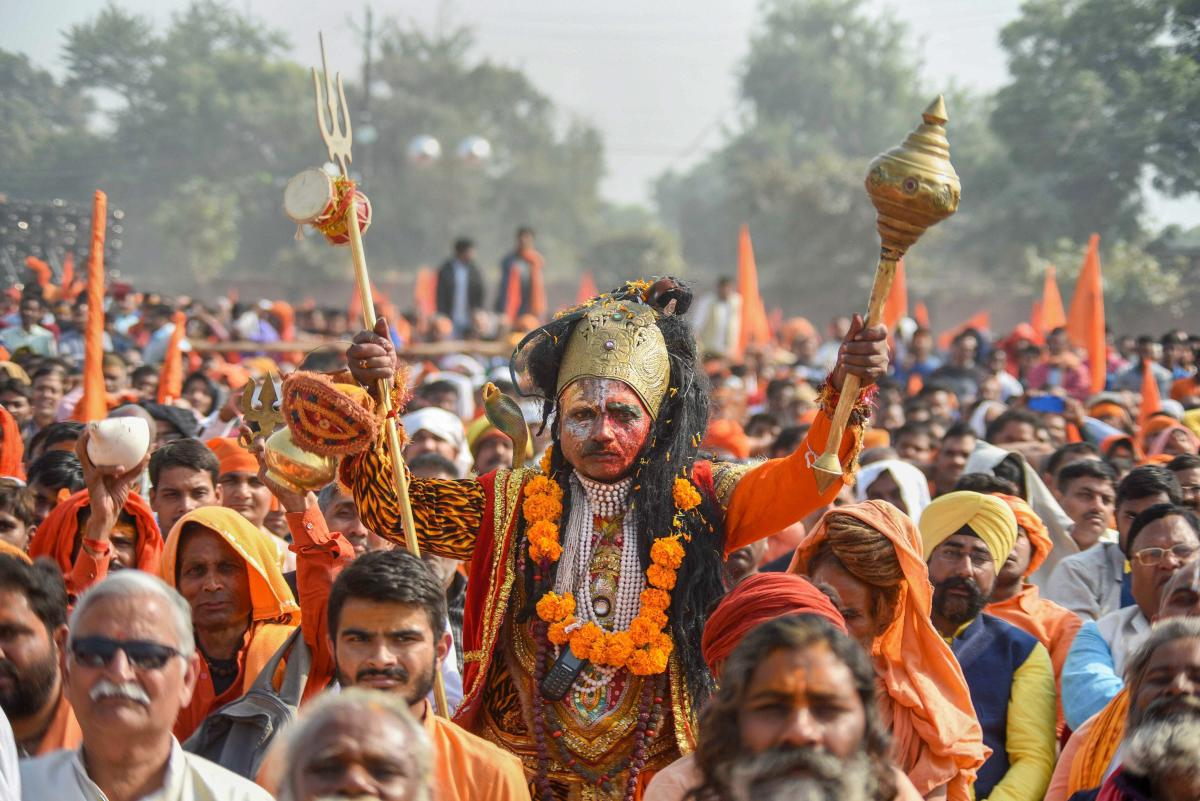 People participate in `Dharam Sabha' in Ayodhya. PTI file photo