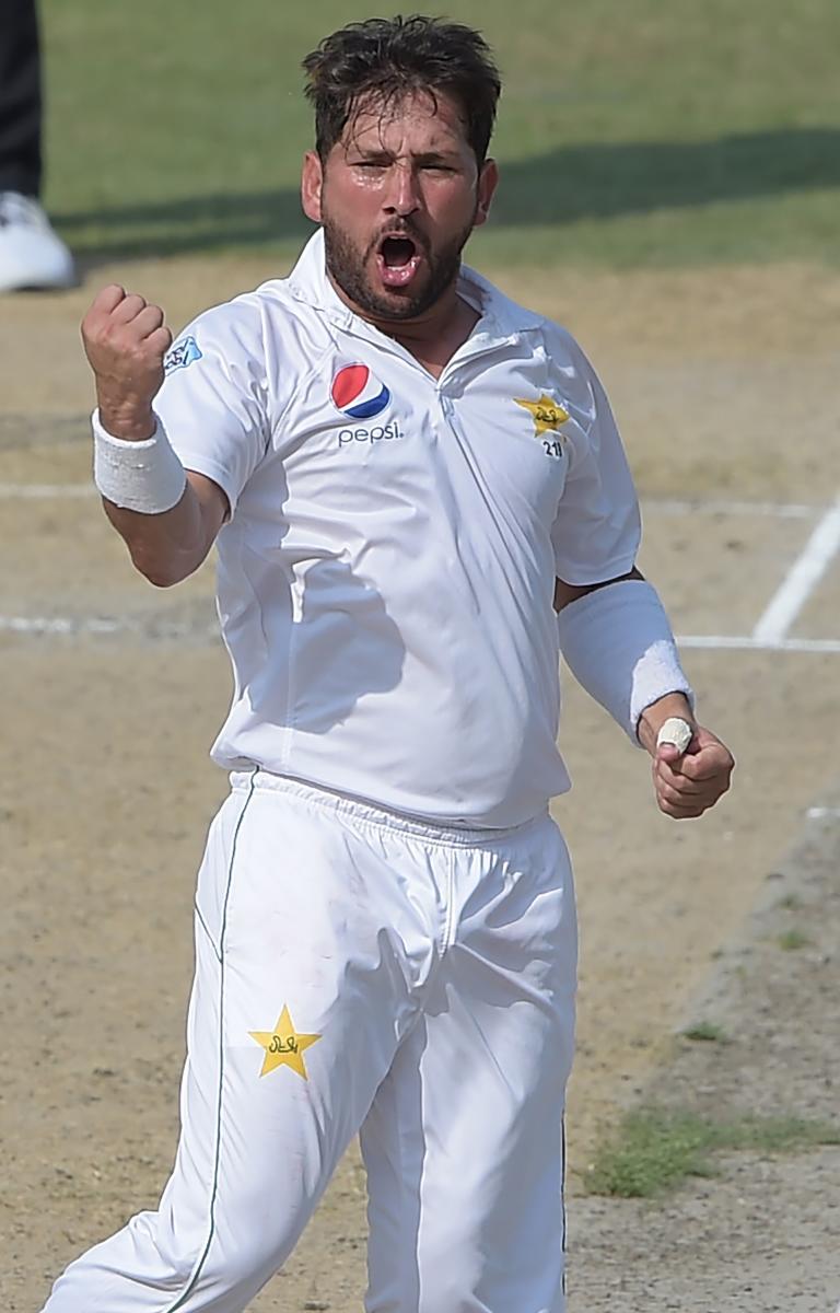 Pakistan's Yasir Shah celebrates after dismissing New Zealand's Neil Wagner on Monday. AFP