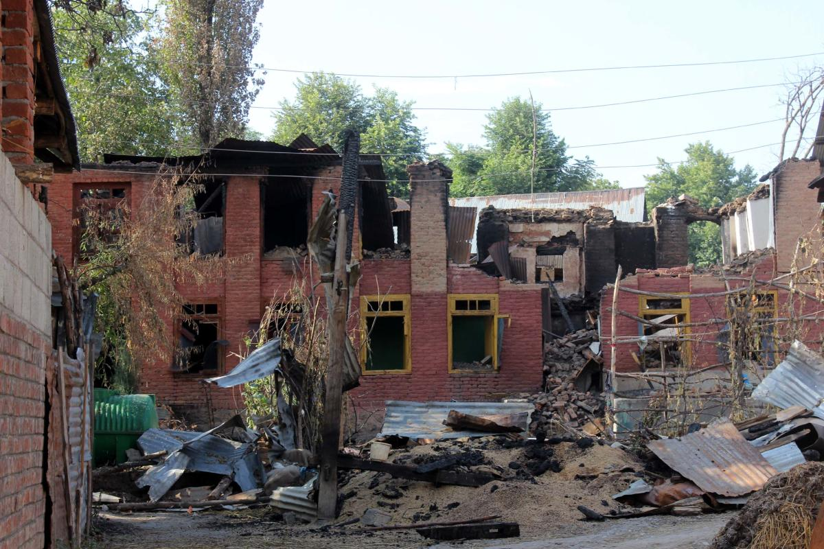 Some of the houses damaged by rampaging mobs after Burhan Wani's encounter in Bamdoora village near Srinagar.