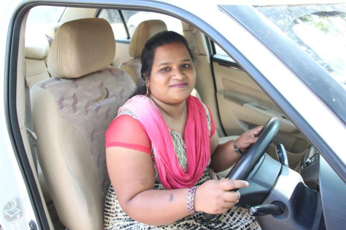 Praveena from a slum has been trained to be a cab driver.