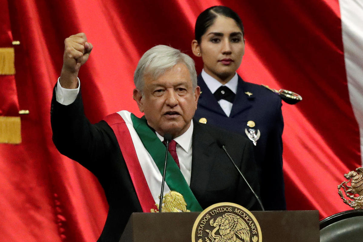 Mexico's new President Andres Manuel Lopez Obrador gestures during his inauguration ceremony at Congress, in Mexico City, Mexico December 1, 2018. (REUTERS Photo)