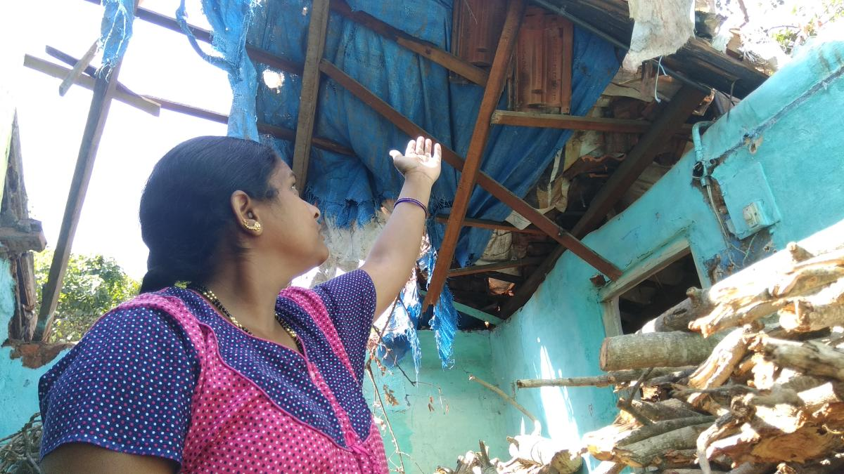 Devamma shows the dilapidated condition of the roof of her house in Medar Block, near Bamboo Bazaar, in Mysuru, after a tree collapsed on the structure in October.