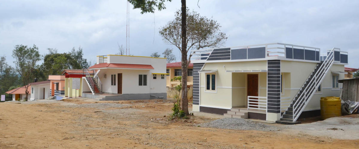Model houses built at K Nidugani village in Kodagu district.