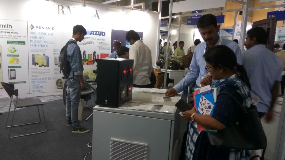 Visitors look at exhibits at Water Expo held at the Bangalore International Exhibition Centre on Wednesday.