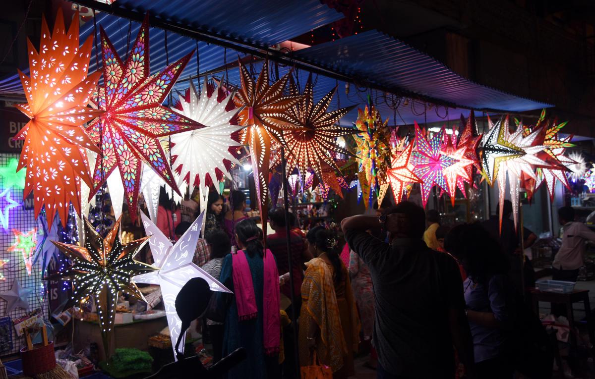 Colourful Christmas stars attract customers in Mangaluru.