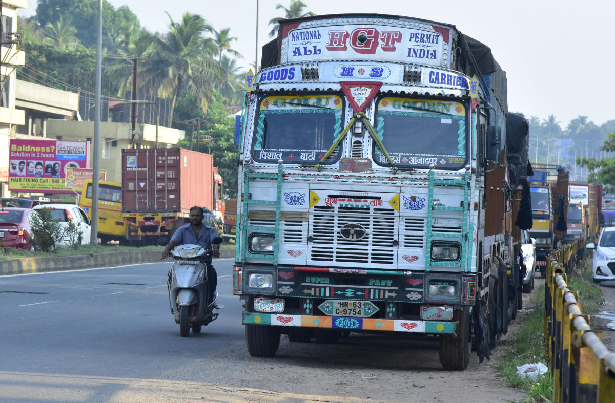 Parking of trucks on the NH 66 has been leading to accidents and traffic snarls in Panambur, Mangaluru.