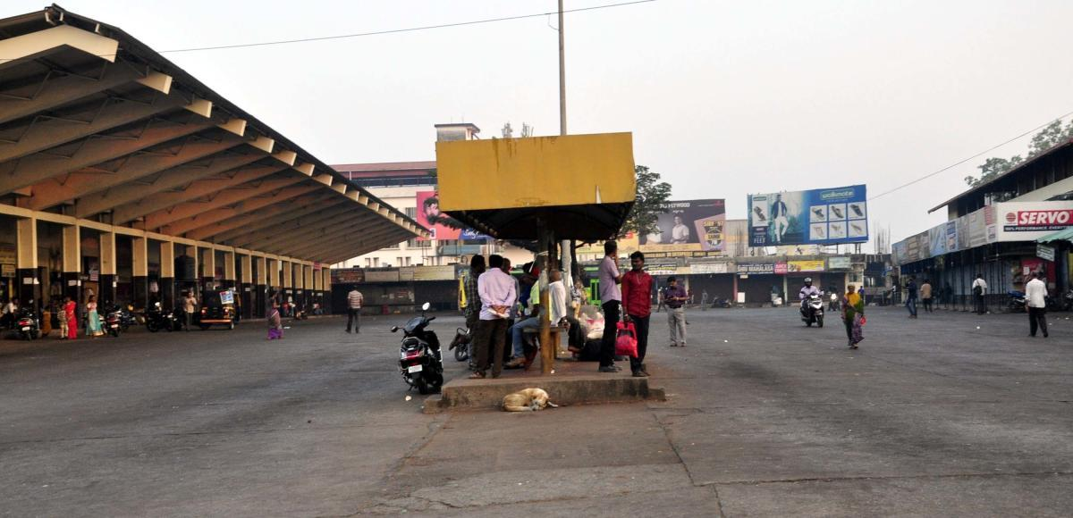 The Private bus stand in Udupi wears a deserted look.