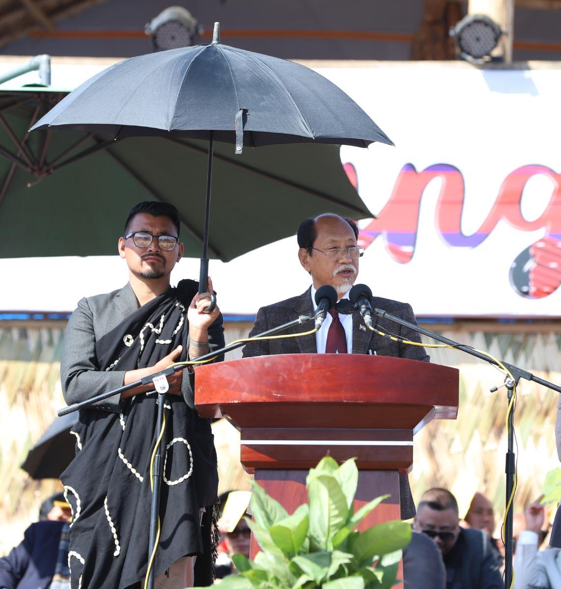 Nagaland chief minister Neiphiu Rio in Tuensang on Saturday. DH photo