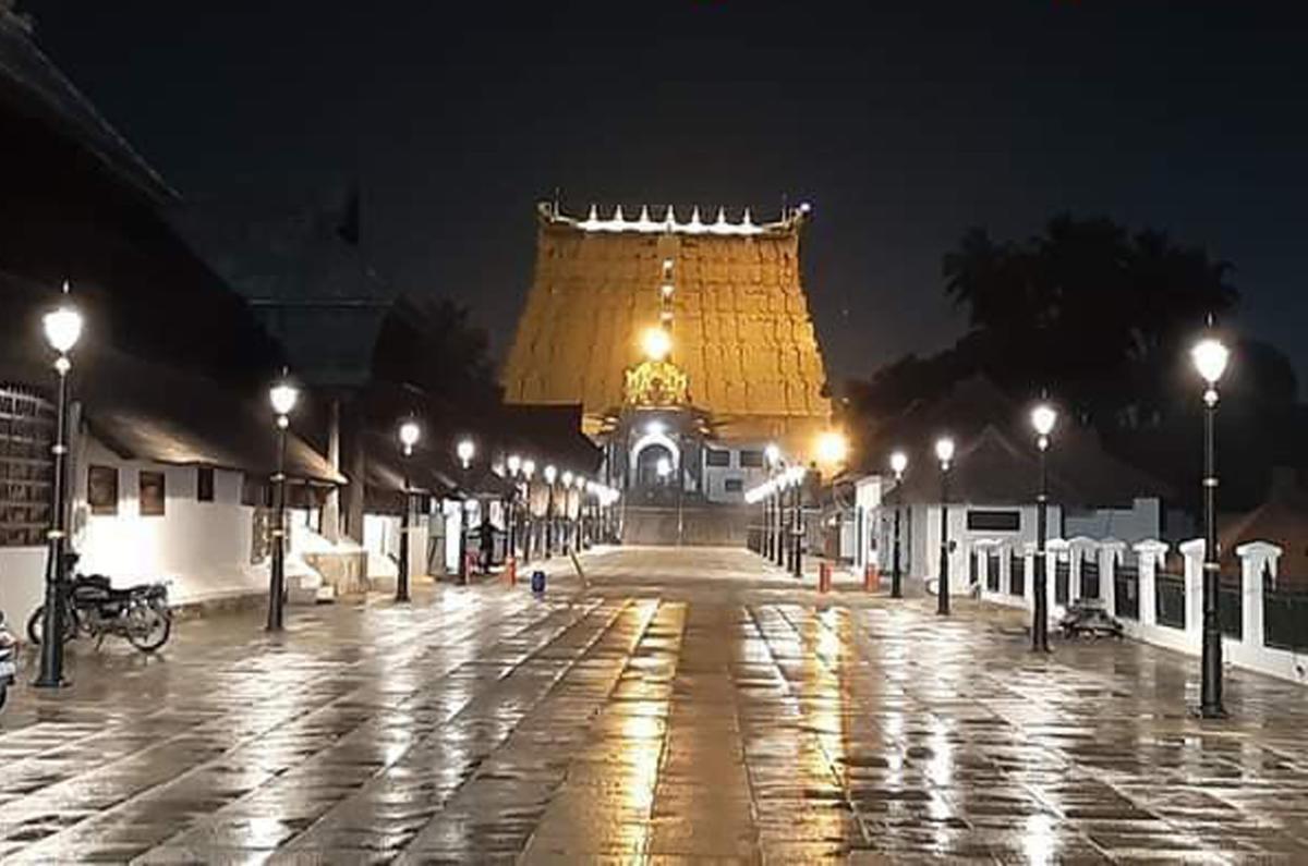 The freshly tiled pavement and traditional lamp posts reflect the traditional grandeur of the Anantha Padmanabhaswamy temple in Thiruvananthapuram dedicated to Lord Mahavishnu.
