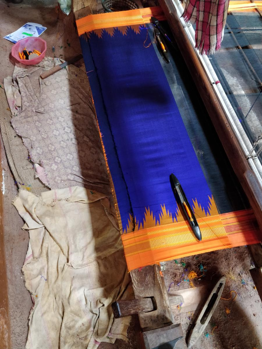Saree Work in progress on a handloom