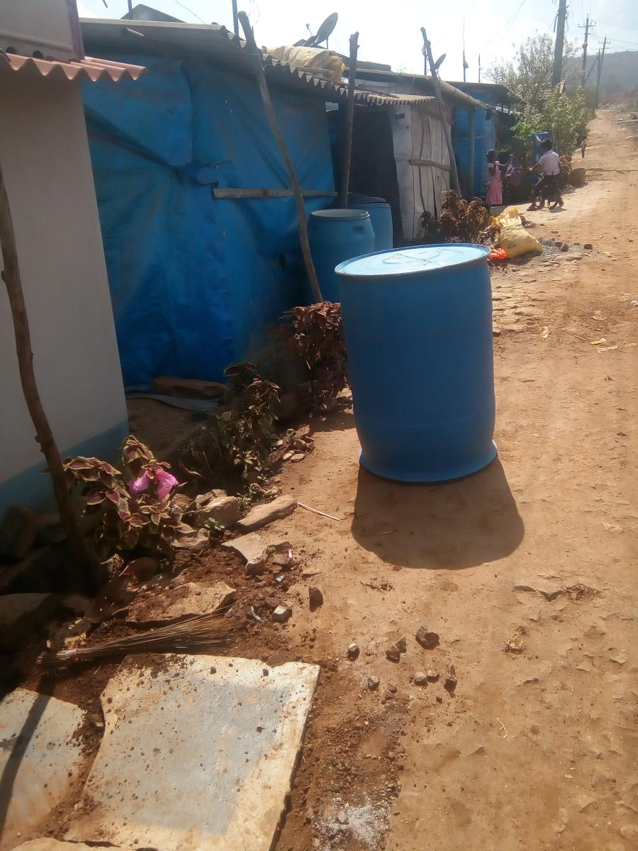 Residents of Kaldoddi Layout in Chikkamagaluru have kept drums in front of their houses to store water.