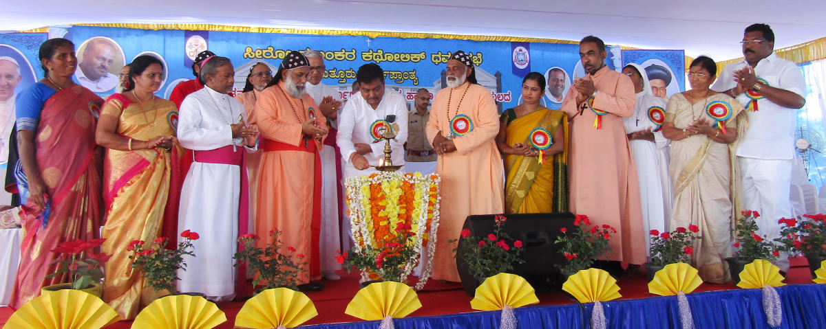 Home Minister M B Patil inaugurates the Bishops House, Seminary of the Syro Malankara Catholic Church Diocese of Puttur at Panjala on Monday.