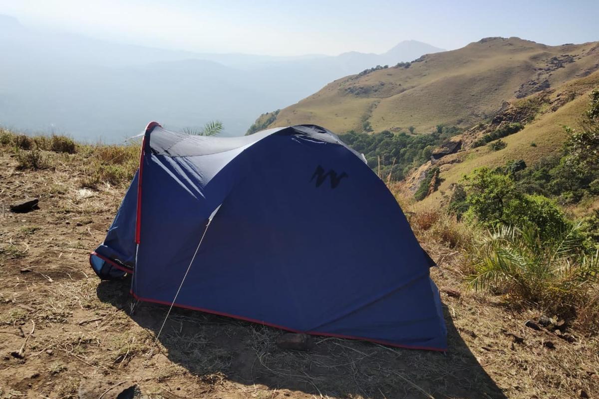 A tent put up recently at Ballalarayana Durga in Balooru Reserve Forest of Mudigere taluk.