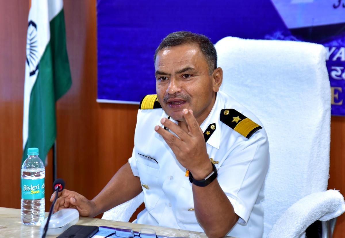 DIG S S Dasila, Commander, Coast Guard (Karnataka), addresses media persons in Mangaluru on Thursday.
