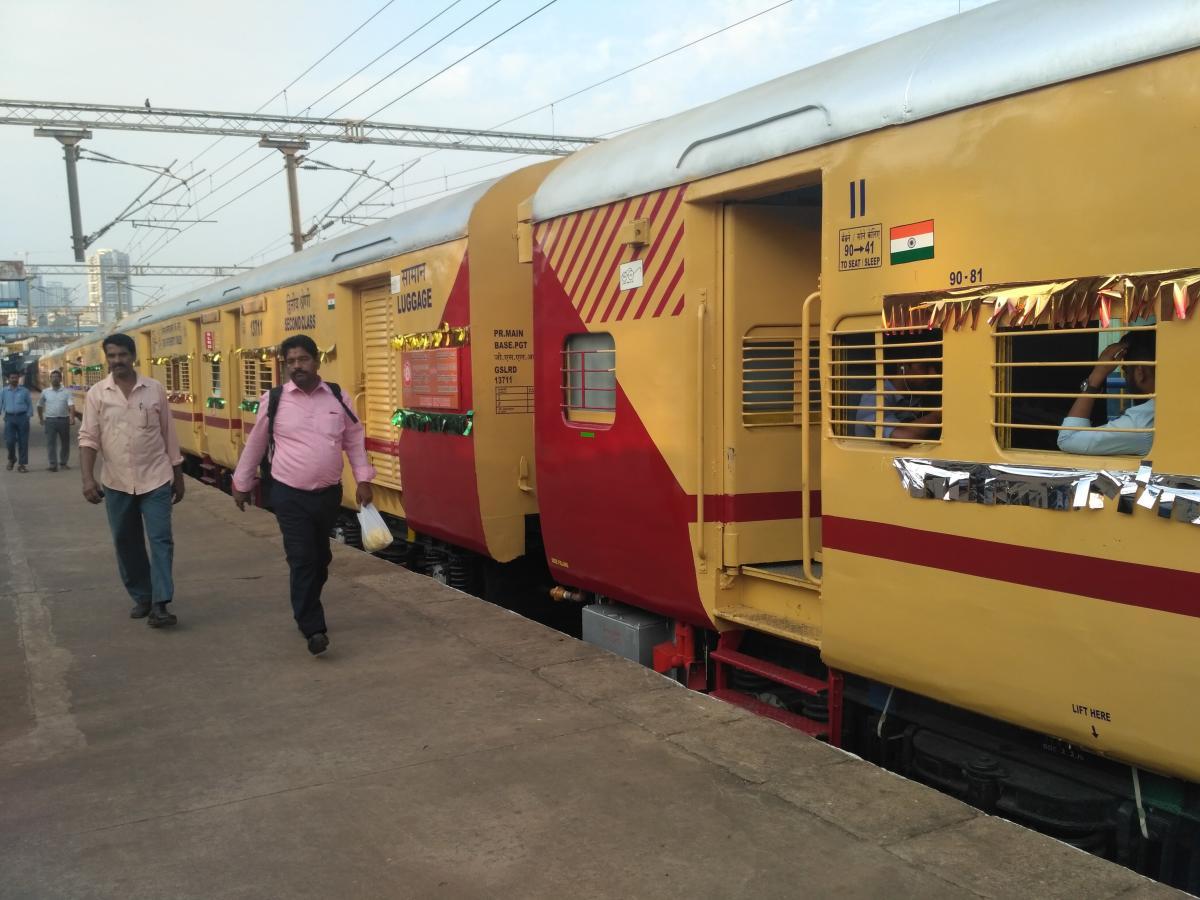 Maveli Express, with the Utkrisht rake, stationed at the Mangaluru Central Railway Station on Tuesday.