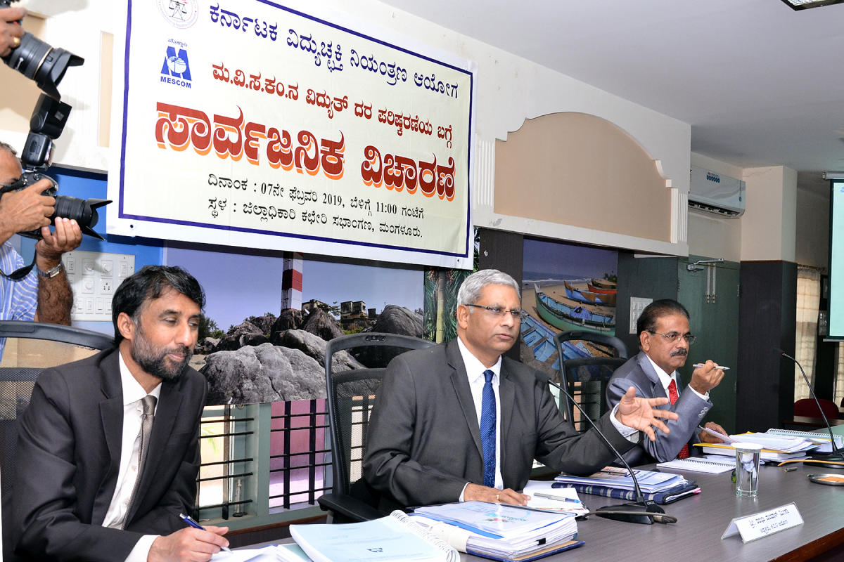 Karnataka Electricity Regulatory Commission (KERC) Chairman Shambhu Dayal Meena speaks at the public hearing on revision of tariff in Mangaluru on Thursday.