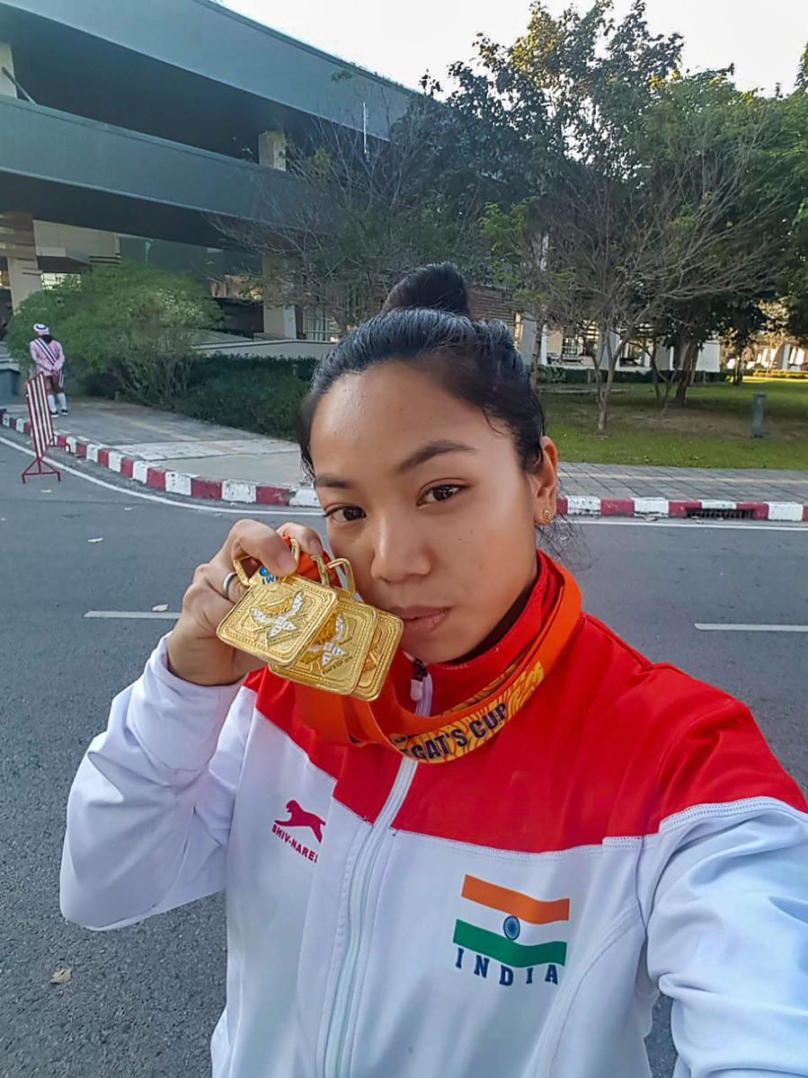 Mirabai Chanu clicks a selfie after winning gold at the EGAT Cup in Chiang Mai, Thailand, on Thursday. Twitter