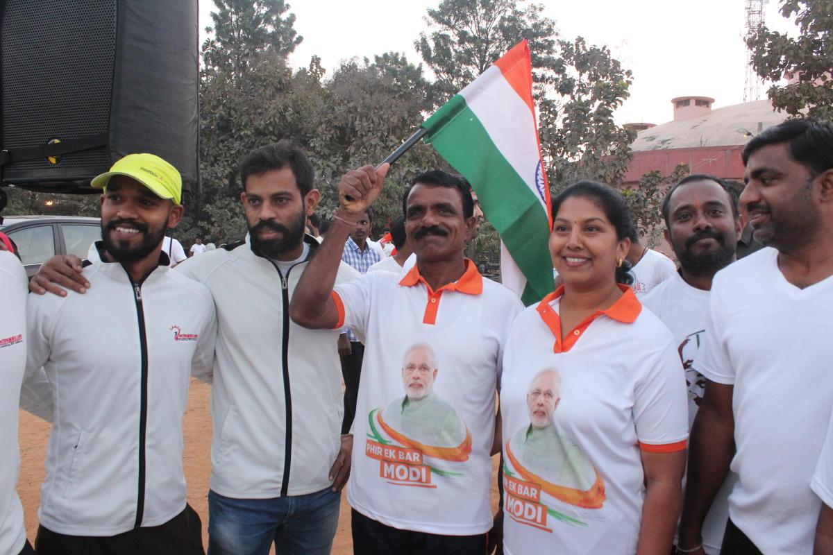 Team Modi marathon led by couple named Kumar and Roopa.