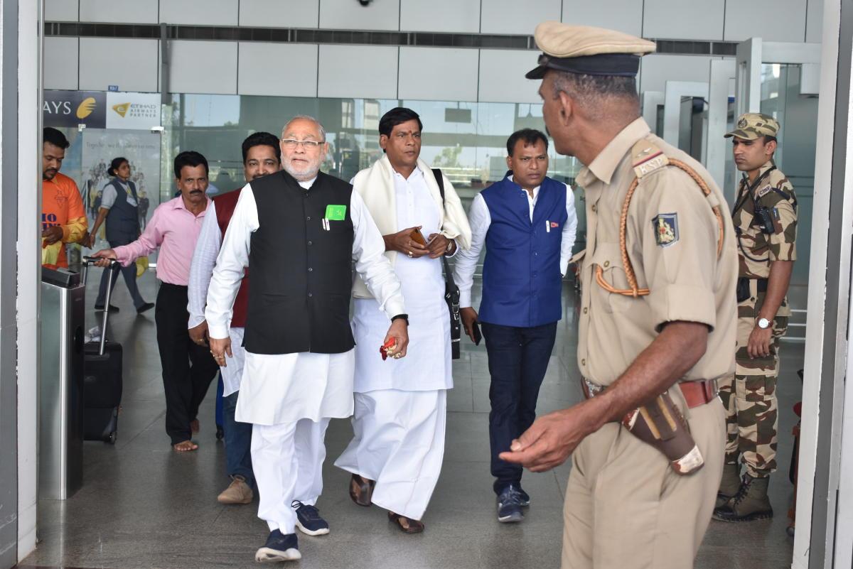 Prahlad Modi, brother of Prime Minister Narendra Modi, at Mangalore International Airport in Mangaluru on Tuesday.