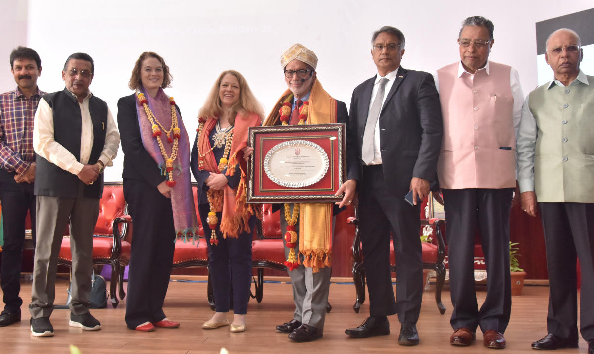 Former Minister and Vice-Chairman, GEF, Director, RIT M R Seetharam (Second from left) felicitate ex-administrator, Nasa, USA, Maj. Gen. Charles Frank Bolden Jr during his technical presentation at M S Ramaiah Institute of Technology in Bengaluru on March