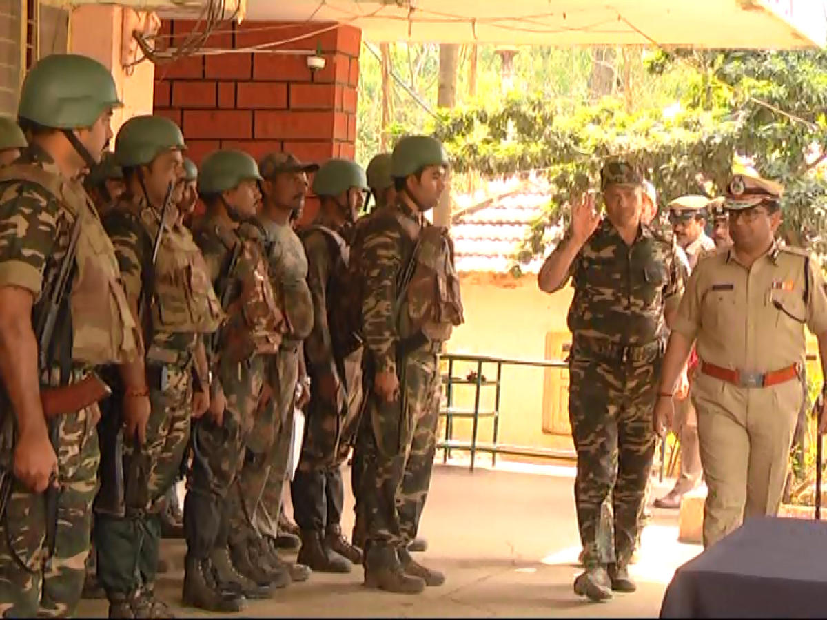 ANF IGP Soumendu Mukherjee visits Kutta police station on Monday, to carry out a follow-up of the combing operation.
