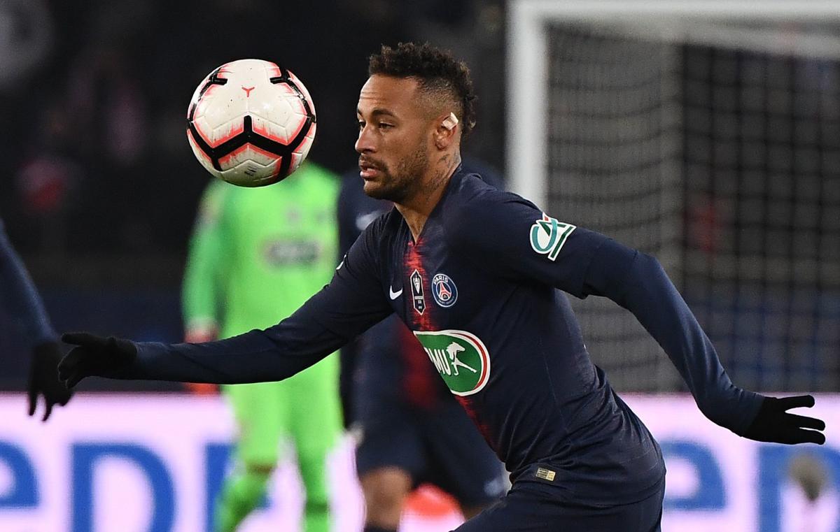 Paris Saint-Germain's Brazilian forward Neymar controls the ball during the French Cup round of 32 football match between Paris Saint-Germain (PSG) and Strasbourg (RCS) at the Parc des Princes stadium in Paris. AFP.