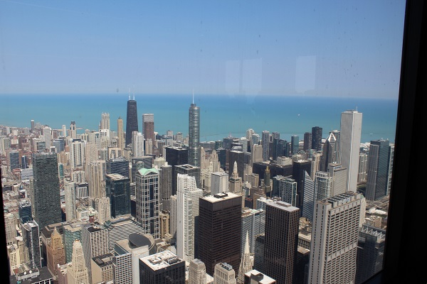 Chicago skyline from the top of Willi's tower