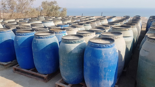 Containers where Dead Sea mud is stored