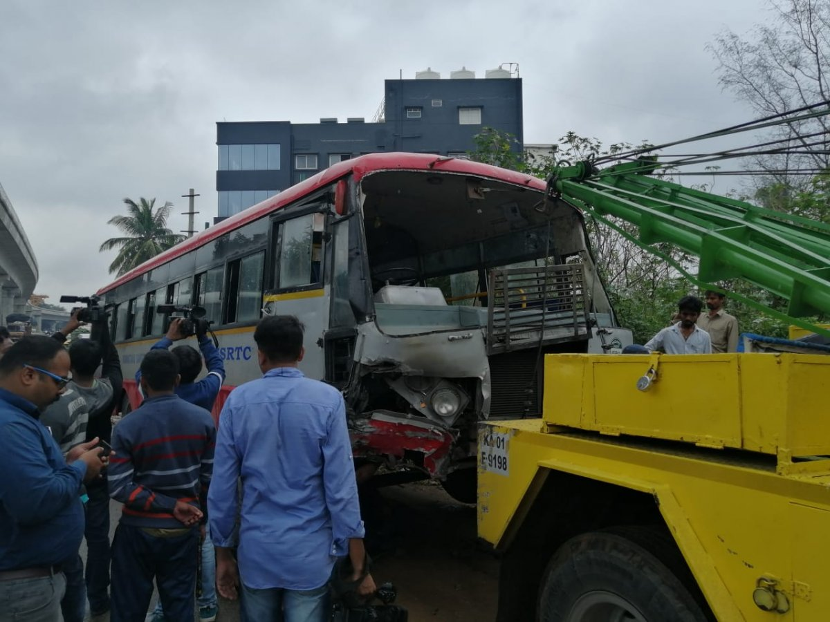 Girl's hand severed as KSRTC bus topples in Bengaluru