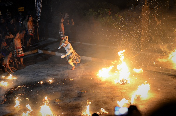 ecak or fire dance Hanoman in Uluwatu temple near Kuta.