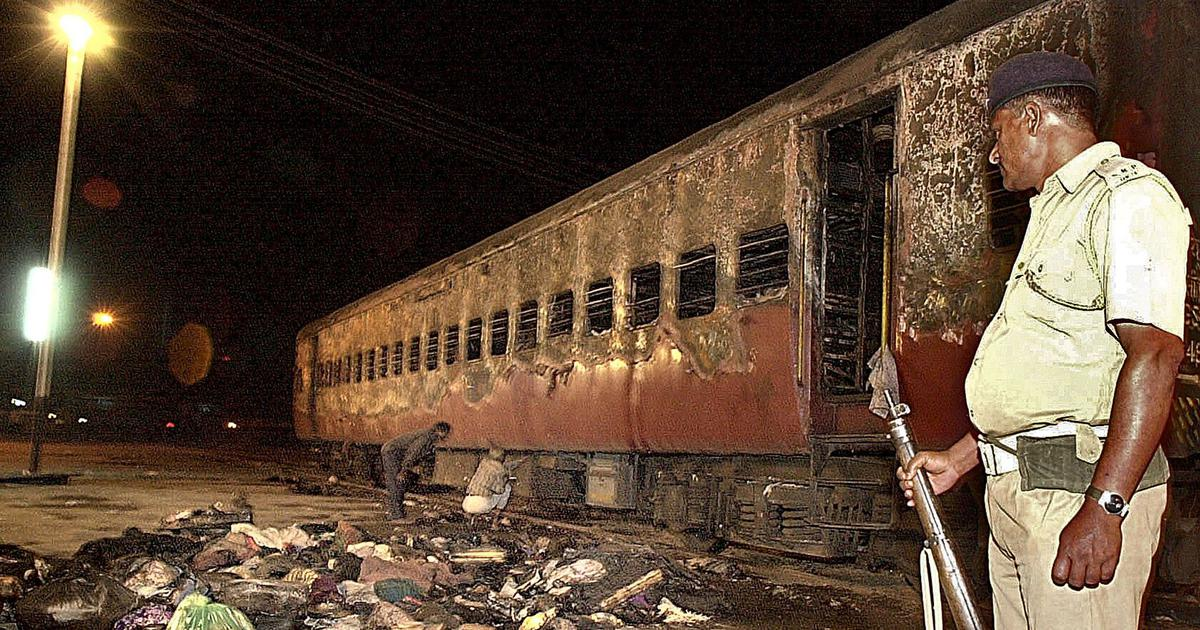 Sabarmati Express that was set on fire in February 2002 at the Godhra station. (Photo by AFP)