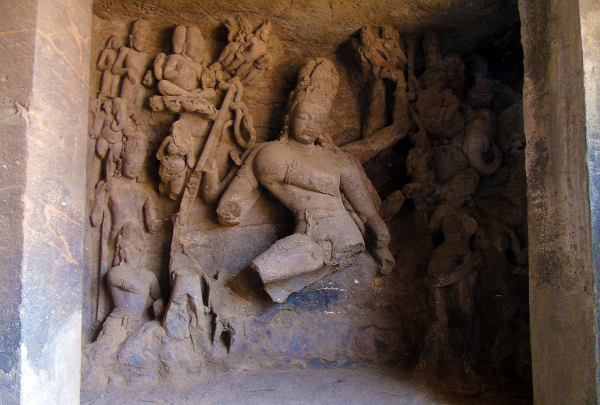 Sculptures destroyed by Portuguese at Elephanta Caves