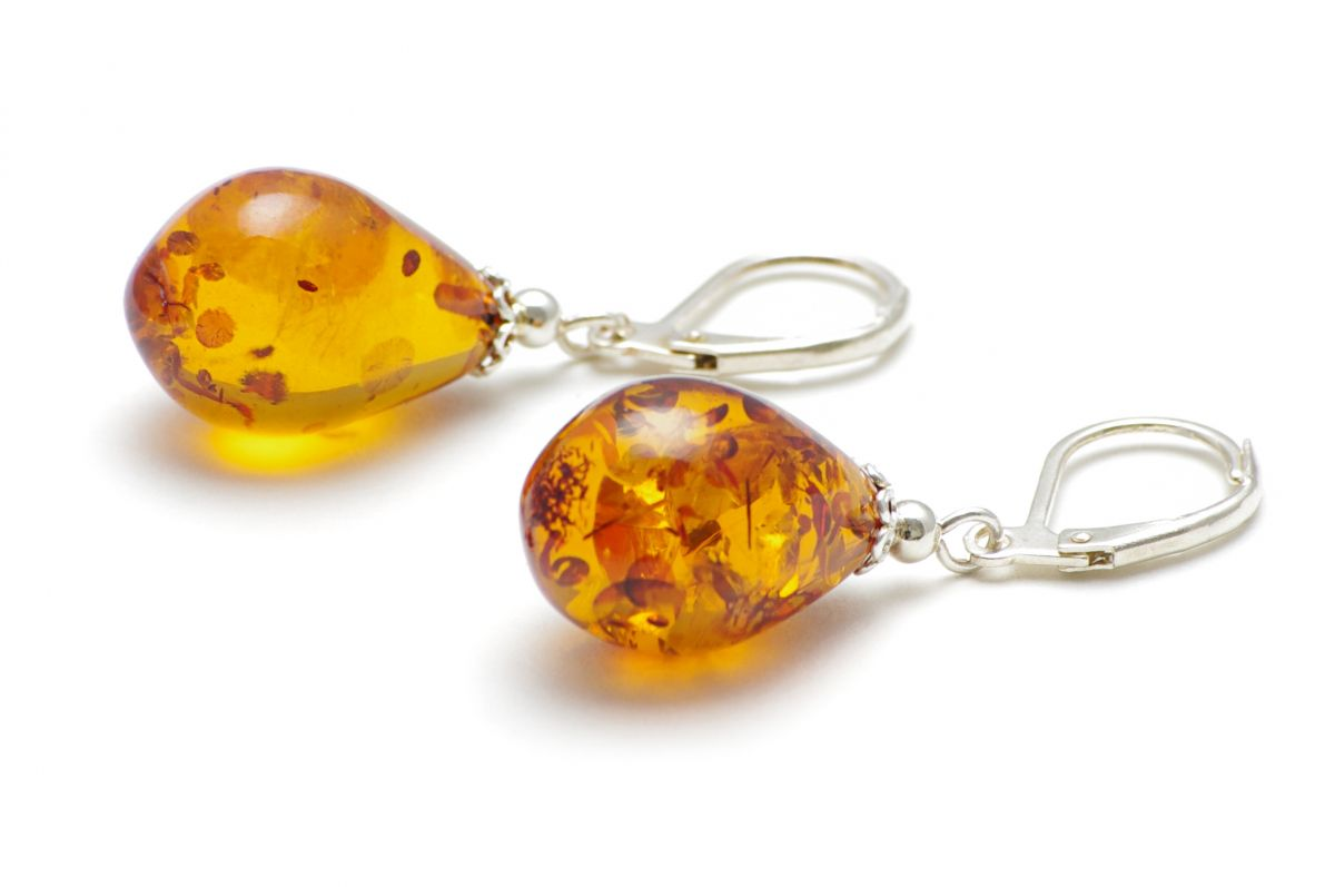 A pair of amber earrings from Poland