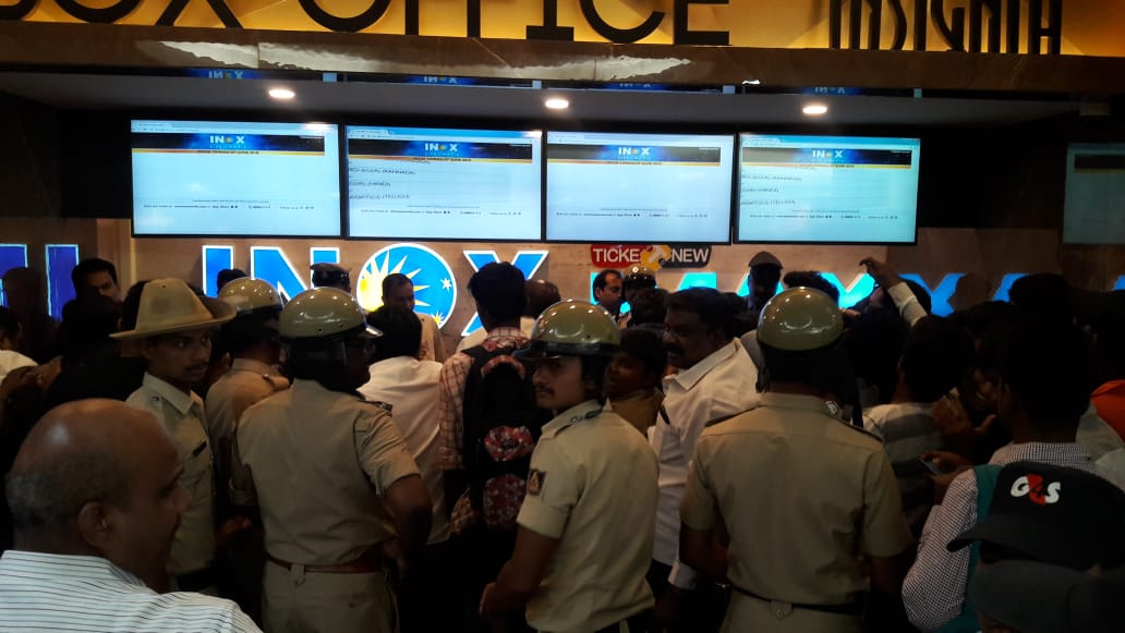 Large number of police personnel at the INOX ticket counters. (DH Photo)