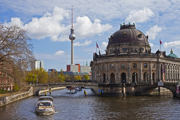 Bode Museum on Museum Island in River Spree, with the TV Tower in the background