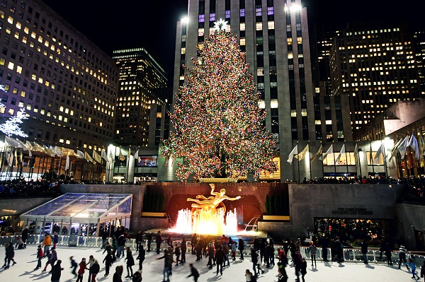 A Christmas tree at Rockefeller Center in New York city
