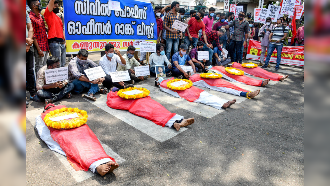 Kerala job aspirants tonsure, crawl and stage mock funerals to be heard as stir continues