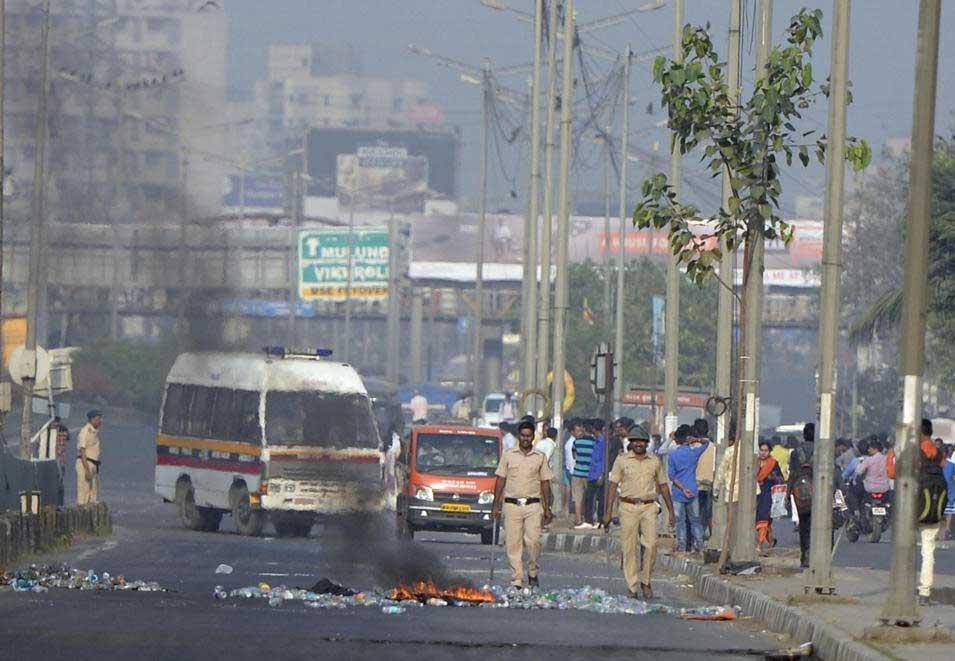 PTI file photo of the Bhima-Koregaon violence.