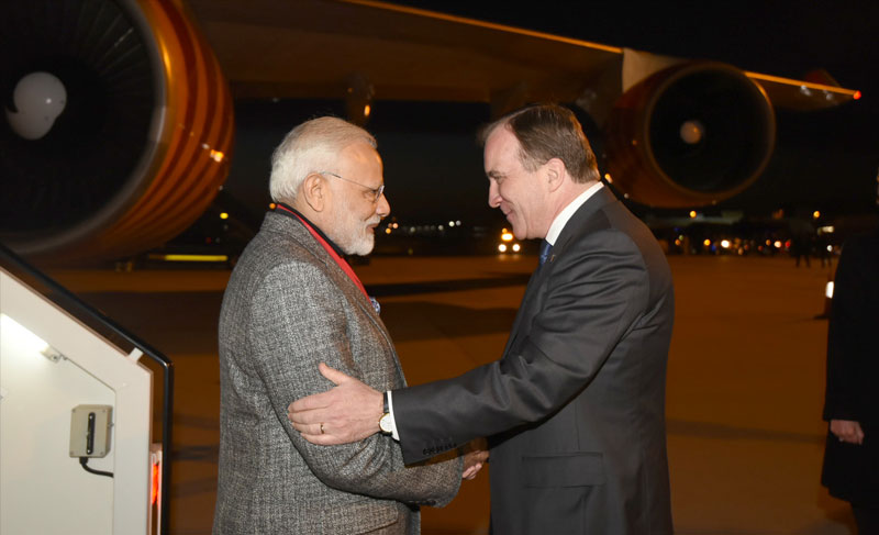 Prime Minister Narendra Modi being greeted by his counterpart Stefan Löfven in Sweden. PIB.
