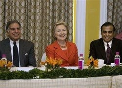 Hillary Clinton meets Indian business leaders