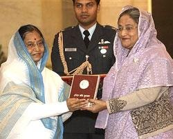 Sheikh Hasina honoured with Indira Gandhi Prize for Peace
